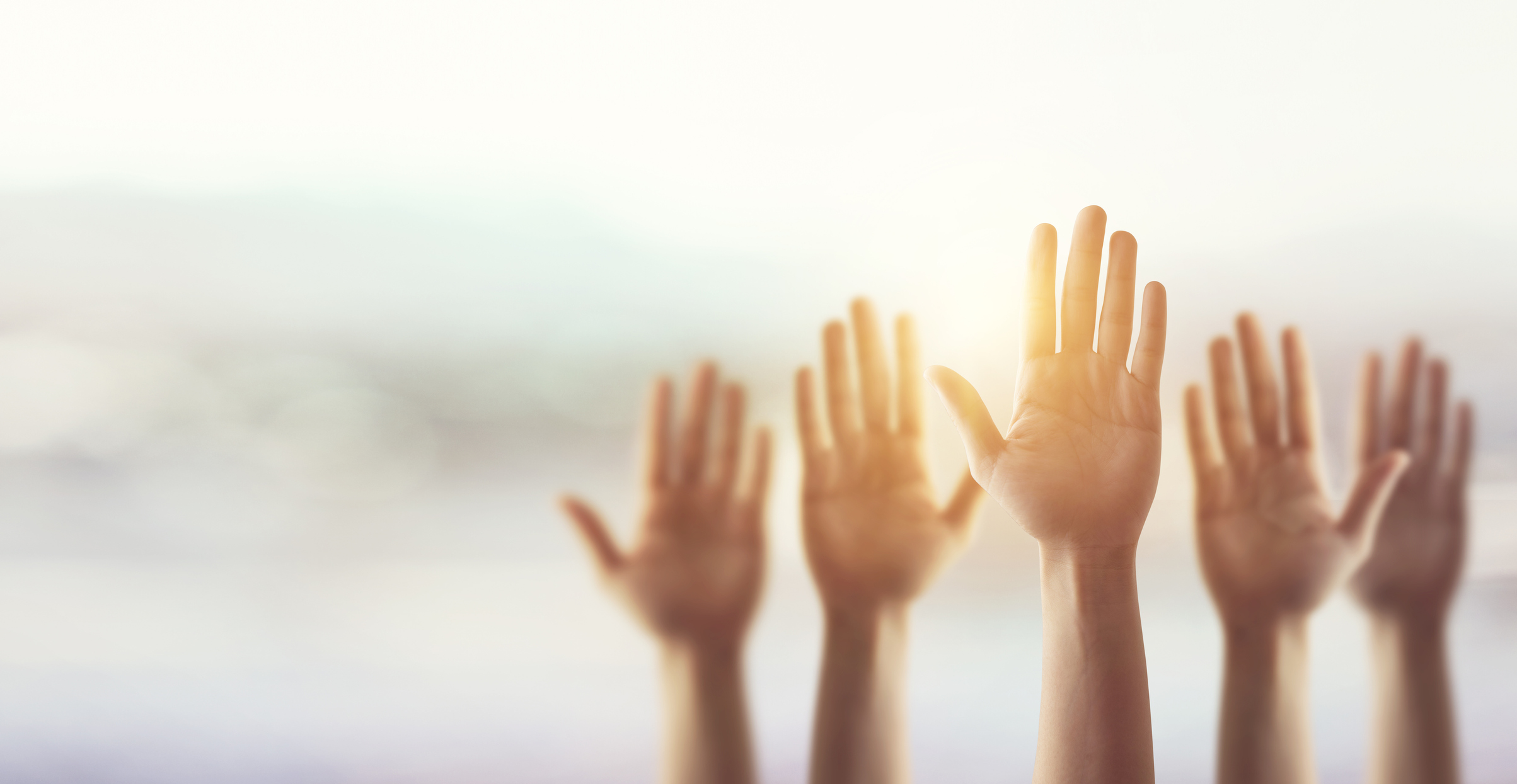 Raising Hands for Participation, many people's hands up. Part of Microvolunteering