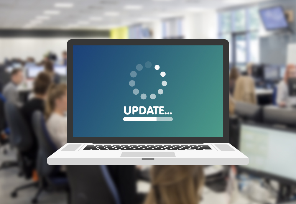 Laptop showing the word 'update'