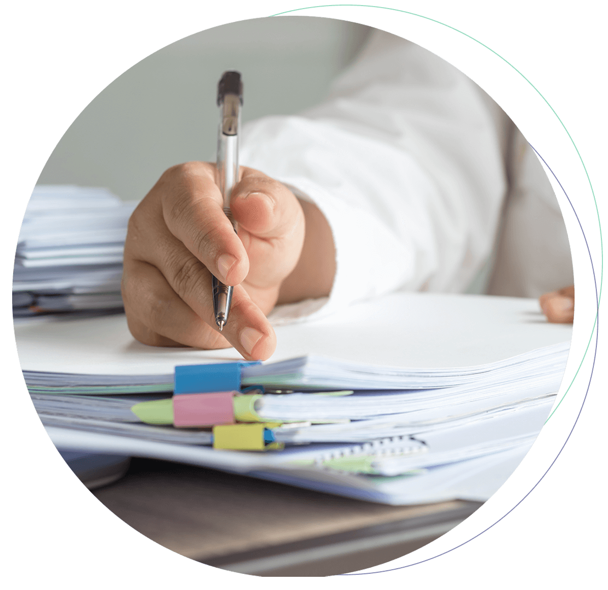 Person completing forms which could be done by Robotic Process Automation