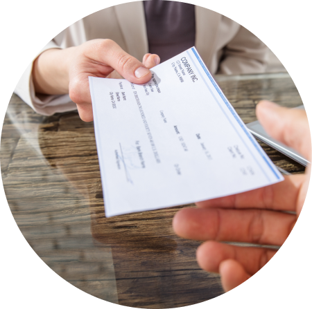 woman is giving document for payroll and pensions by HR Select