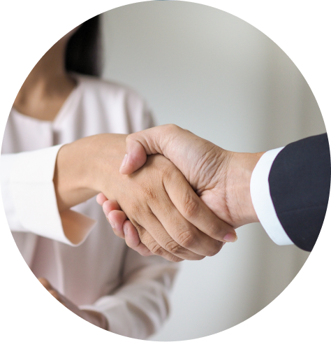 handshaking between a man and a girl for referencing services by DBS Checks