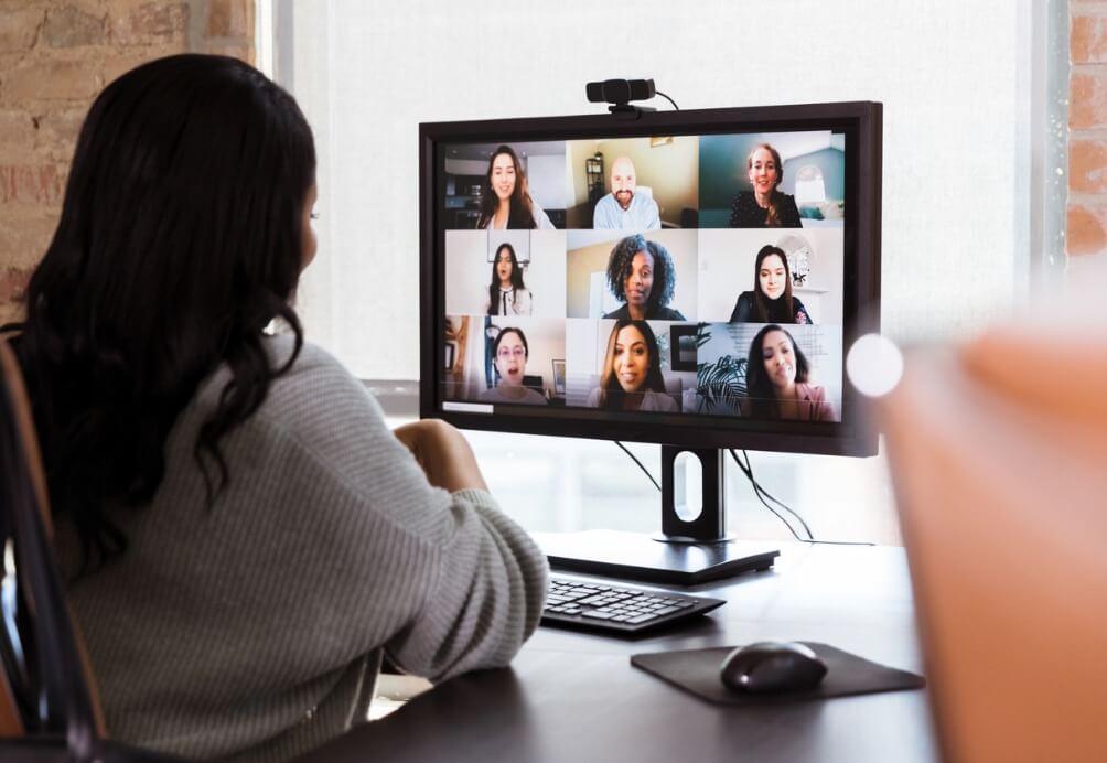 Video meeting between colleagues.