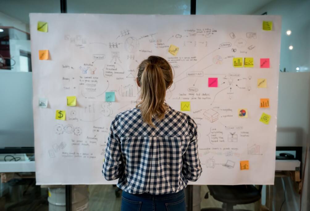 Woman sketching a business plan